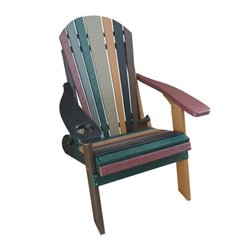 Striped Earth Tone Folding Adirondack Chair in Poly Lumber with Cupholder