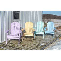 Folding Adirondack Chair in SWIRL Poly Lumber with Cupholder