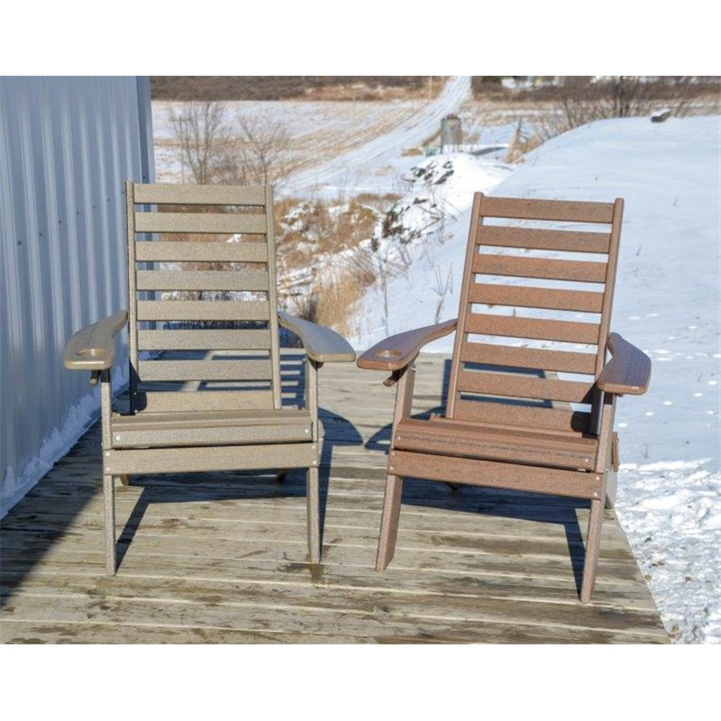 Plantation Ladderback Folding Adirondack Chair in Poy Lumber Recycled Plastic - Natural Woodgrain