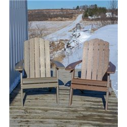 Country Classic Folding Adirondack Chair in Poy Lumber Recycled Plastic - Natural Woodgrain