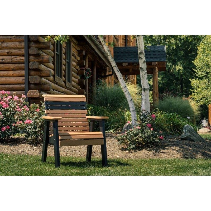 Outdoor Patio Chair with Rollback in Poly Lumber
