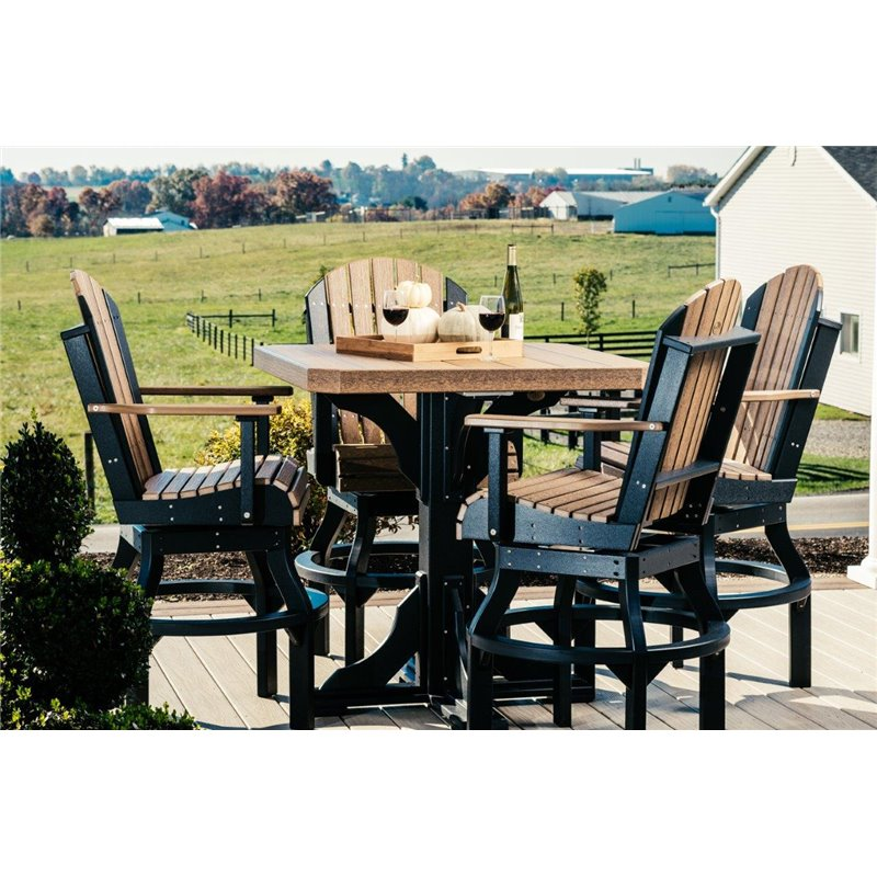 Square Outdoor Table with 4 Swivel Adirondack Chairs in Poly Lumber - Bar Height