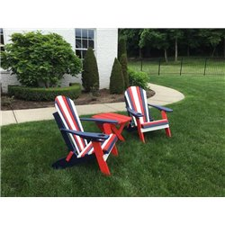 Red, White, & Blue USA Patriotic Folding Adirondack Chair in Poly Lumber Recycled Plastic
