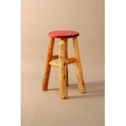 Rustic Red Cedar Log BAR STOOL Bar or Counter height STOOL WITH BACK