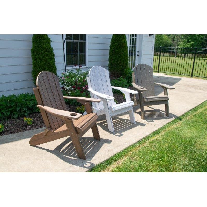 Seaside Folding Adirondack Chair in Poly Lumber Recycled Plastic - Natural Woodgrain