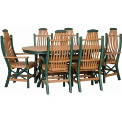 "Poly Lumber Patio Set with 72"" Oval Table & 6 Chairs - 18 Standard Colors"