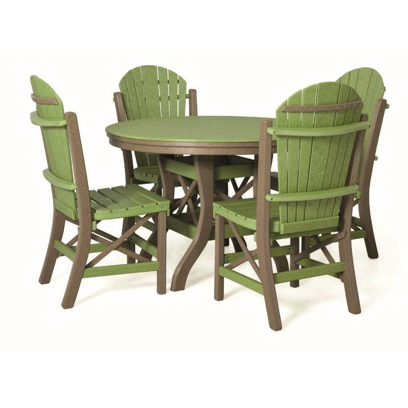 "Poly Lumber Patio Set with 48"" Oval Table & 4 Side Chairs - 18 Standard Colors"