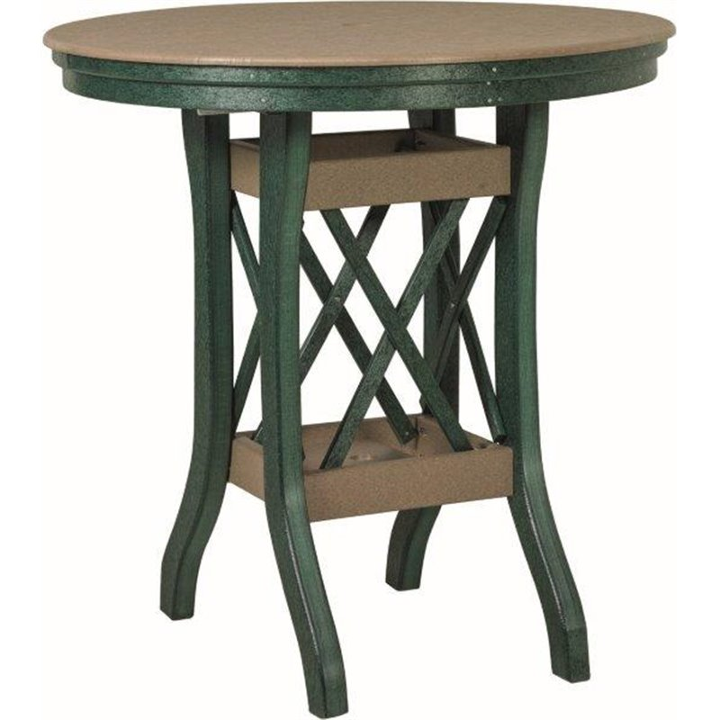 """Poly Lumber Patio Set with 36"""" Round Pub Table & 2 Fanback Swivel Arm Chairs- 18 Standard Colors"""