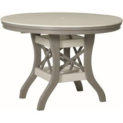 "Poly Lumber Patio Set with 60"" Round Table & 6 Fanback Chairs - 18 Standard Colors"