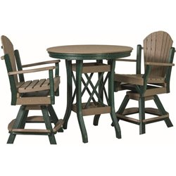 "Poly Lumber Patio Set with 36"" Round Balcony Table & 2 Fanback Swivel Arm Chairs- 7 Premium Colors"