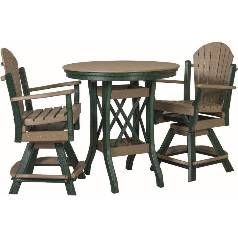 "Poly Lumber Patio Set with 48"" Round Balcony Table & 4 Fanback Swivel Arm Chairs- 7 Premium Colors"
