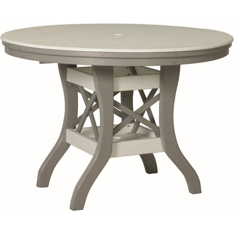 """Poly Lumber Patio Set with 54"""" Round Table & 5 Fanback Chairs - 7 Premium Colors"""