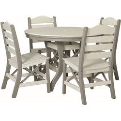 "Poly Lumber Patio Set with 48"" Round Table with & 4 Ladderback Side Chairs - 18 Standard Colors"