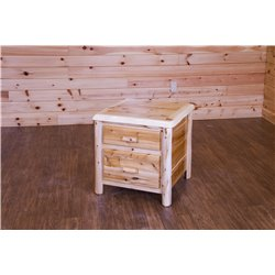 White Cedar Log Nightstand/End Table