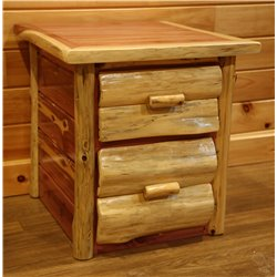 RUSTIC RED CEDAR LOG END TABLE - 2 DRAWERS