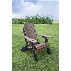 Two-Tone Folding Adirondack Chair with Cup Holder in Poly Lumber