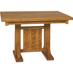 Western Twist Dining Table in Wormy Maple Wood