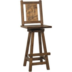 Western Twist Set of 2 Swivel Bar Stools in Wormy Maple Wood
