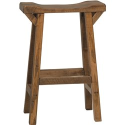 Western Twist Saddle Stool in Wormy Maple Wood