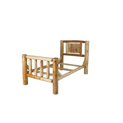 Rustic White Cedar Log Mission Style Single Side Rail Bed - Twin / Full / King / Queen