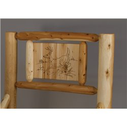 Rustic White Cedar Log Panel Style Bed with Wood Burn Head Board