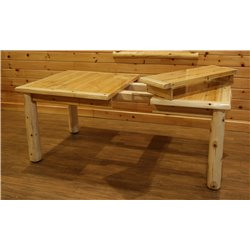 White Cedar Log Dining Table Set - 1 Family Dining Table with 2 Extensions and 6 Dining Chairs