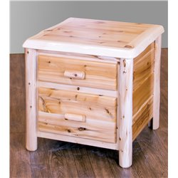 White Cedar Log Bedroom Set - Bed, Dresser, Nightstand, Coat Rack, and Lamp