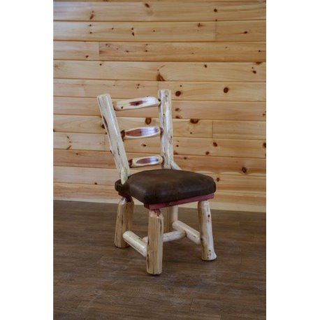 Rustic Red Cedar Log Dining Room Chair with Upholstered Seat