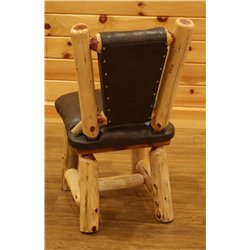 Rustic Red Cedar Log Dining Room Chair with Upholstered Seat and Back