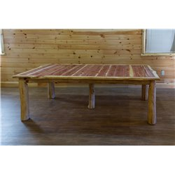 Rustic Red Cedar Log Extension Table with 2 Leaves - 42 Inches Wide