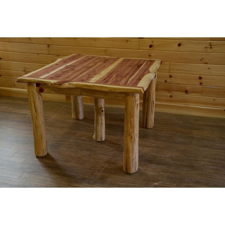 Rustic Red Cedar Log TRADITIONAL SQUARE DINING TABLE
