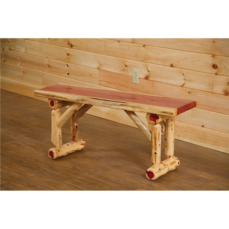 Super Red Cedar Log Bench Gmtry Best Dining Table And Chair Ideas Images Gmtryco