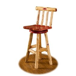 Rustic Red Cedar Log Swivel Bar Stool with Back