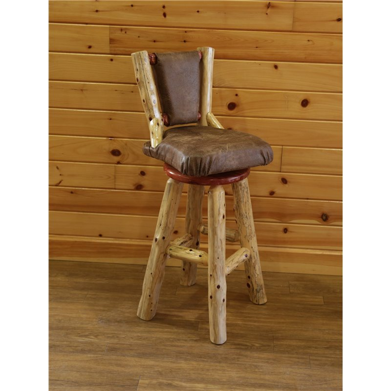 Rustic Red Cedar Log Upholstered Swivel Bar Stool