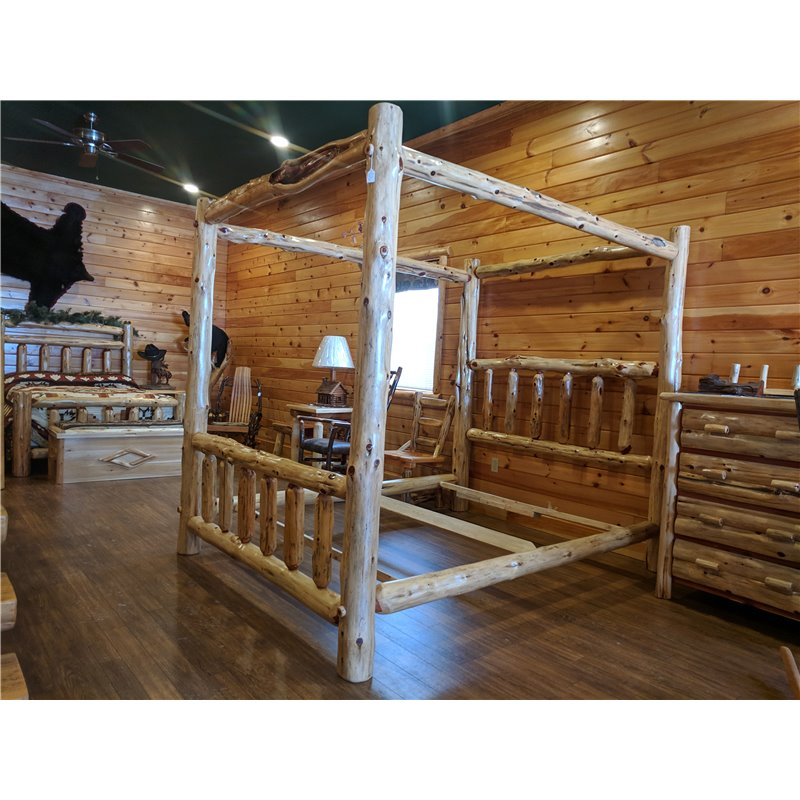 Finished White Cedar Canopy Bed- Classic