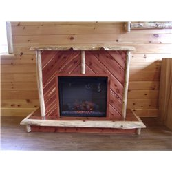 Rustic Red Cedar Log Electric Fireplace