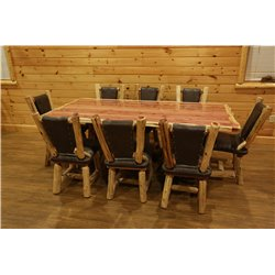 Red Cedar Log Stump Table Set with 8 Upholstered Chairs