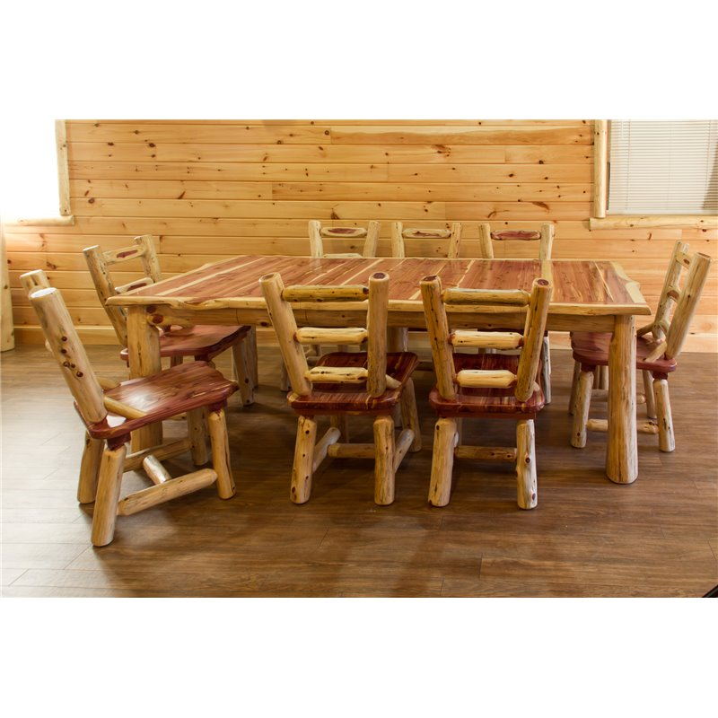 Rustic Red Cedar Log 4 Leaf Extension Dining Table Set with 8 Ladder Back Chair