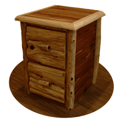 Rustic Red Cedar Log 2 Drawer File Cabinet