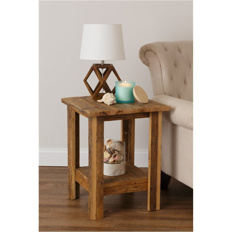 Rustic Reclaimed Oak End Table with Shelf