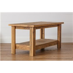 Rustic Reclaimed Oak Coffee Table with Shelf