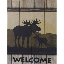 Wood Pallet Art -Moose Welcome