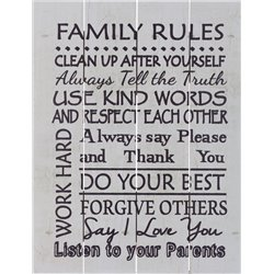 Wood Pallet Art - Family Rules (White)