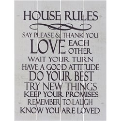 Wood Pallet Art - House Rules (White)