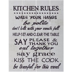 Wood Pallet Art - Kitchen Rules (White)