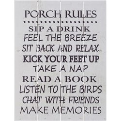 Wood Pallet Art - Porch Rules (White)