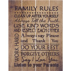 Wood Pallet Art -Family Rules (Brown)
