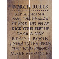Wood Pallet Art - Porch Rules (Brown)