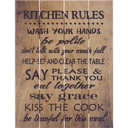 Wood Pallet Art - Kitchen Rules (Brown)