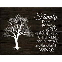 Wood Pallet Art - Family-Roots and Wings